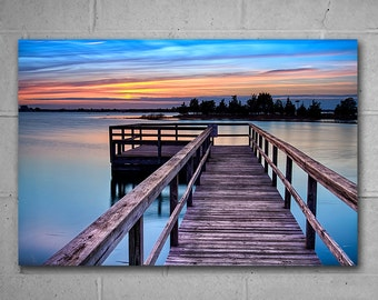 Dock Summer Sunset Themed Metal Wall Art, Relaxing Avalon Pier Photo, Choose from available sizes, Ready to Hang large wall art, Blue decor
