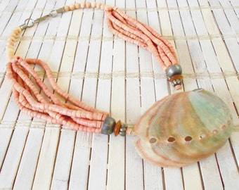 Vintage Abalone Shell Pendant Necklace, Multi Strand, Pale Pink, Mermaid style, Beach Goddess, 1980's, Natural style, Reversible necklace