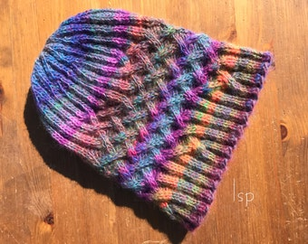 Hand knit cable hat