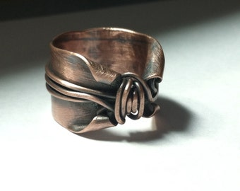 MADE TO ORDER copper thumb ring, elvish copper band, rustic copper ring, magical ooak earthy twisted copper band, woodland ring