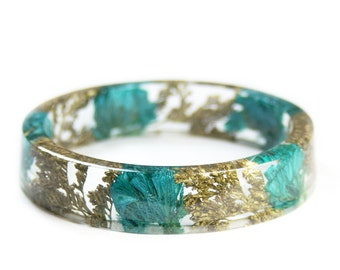Teal and Gold Bracelet - Jewelry with Real Flowers- Dried Flowers- Bracelet - Teal Dried Flowers- Gold Bracelet- Resin Jewelry