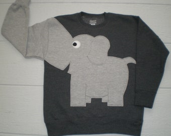 Charcoal grey Childrens Elephant Trunk sleeve sweatshirt,  sweater, elephant jumper, KIDS xsmall or medium, Special Deal