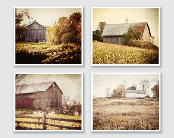 Rustic Barn Print or Canvas Wrap Set, Landscape Photography, Barn Prints set of 4, Gold, Yellow, Rust Red, Brown, Autumn Colors, Farmhouse.