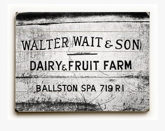 Wood Sign: Black and White Walter Wait and Son Wood Plank, Rustic Kitchen Decor, Country Kitchen Wall Art, Ballston Spa, Vintage Kitchen Art