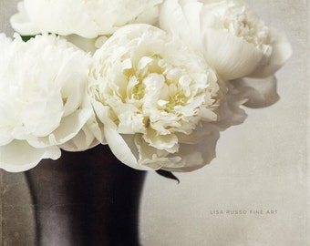 Cream Peonies in a Bronze Vase, Elegant Flower Print or Canvas Art, Peony Photography, Cream Floral, Neutral Wall Art, Ivory Flowers.