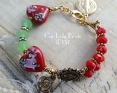 Statement Rosary Bracelet Mix Quality Beads,One Decade Heart Bracelet,Religious Gift,Catholic Jewelry,Anniversary Gift,Valentine Gift,#1D137