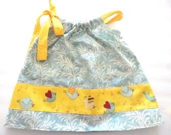 6-12 Months Pillow Case Dress with Cute Bird Print Border