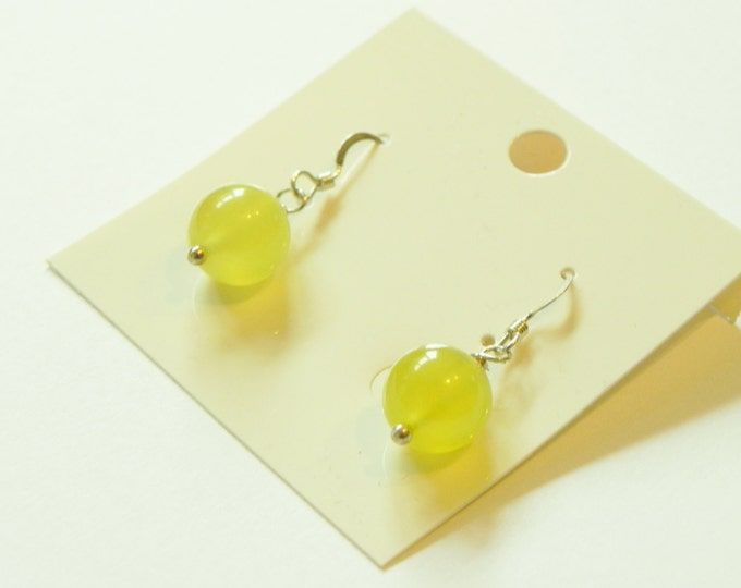 Yellow/green jade gemstone sterling silver earrings|simple drop earrings|yellow gemstone|yellow jade|sterling silver hooks|8mm rounds