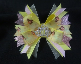 Princess Belle bow boutique 5 inch with rhinestone tiara center