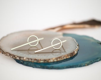 Sterling Silver Circle and Line Earrings, Geometric Silver Drop Earrings, Minimalist earrings, Modernist earrings