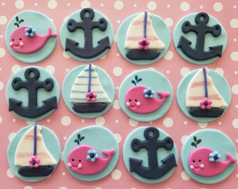12 Fondant cupcake toppers- nautical theme, whales, anchors, sailboats