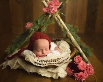 Alpaca bonnet- Newborn Size- Photography Prop- YOU choose the color!