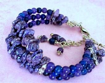 Lapis Amethyst Multistrand Bracelet, Lapis Beads and Amethyst Chips Bracelet, Purple Blue Multistrand Bracelet, FREE US SHIPPING