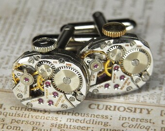 Steampunk Cufflinks Cuff Links - TORCH SOLDERED - Antique Silver HAMILTON Watch Movements w Crowns - Birthday, Anniversary Gift