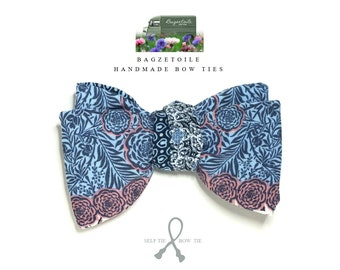Bowtie in delightful blue, rose and white fabric - size adjusters - just self tie bow ties for men handmade by Bagzetoile - ships worldwide