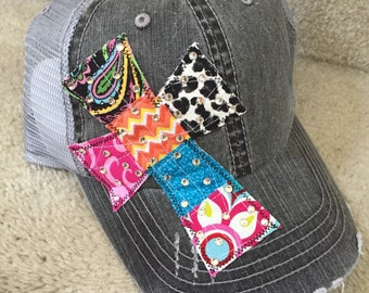 Patchwork Cross Trucker Hat