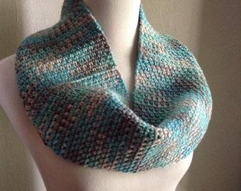 Blue Infinity Scarf, Chunky Infinity Scarf, Women's Circle Scarf, Argyle Scarf, Thick Infinity Scarf, Knit Infinity Scarf