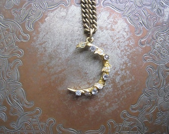 Crescent Moon Necklace / Antique Conversion Jewelry / OOAK