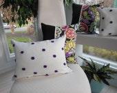 Plum Pillow Purple Pillow Fuzzy Pillow Polka Dot - Lumbar Pillow - Fuzzy Spot Design Pillow - Purple and White - Reversible 12 x 16 Inch