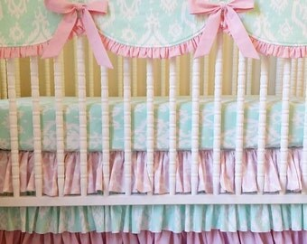 Girl Crib Bedding- Pink and Mint BUMPERLESS Crib Bedding- Baby Bedding- MADE to ORDER- Mint and Light Pink