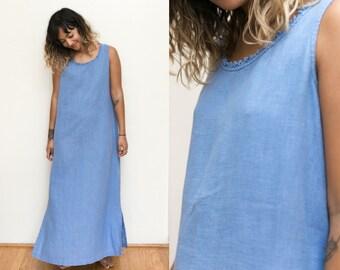 Blue Linen Dress / Blue Chambray Long Maxi Linen Dress / Sleeveless Natural Minimal Loose Fit Vintage 90s Dress Sundress Frock Womens Medium