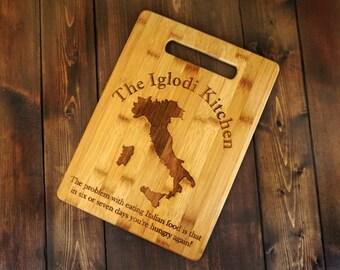 Italian Kitchen - Custom Engraved Bamboo Cutting Board - 8.5 x 11- Personalized
