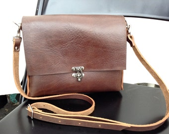Chocolate Brown Leather Crossbody bag- SHORTY