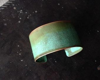 Copper Patina Cuff - 1 1/4 inch wide
