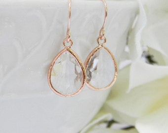 Rose Gold Earrings - Clear Earrings - Rose Gold Bridesmaid Earrings -  Wedding  Earrings - Bridesmaid Gift - Dangle Earrings - Gift For Her