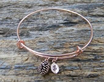 Rose Gold Bangle / Personalized Bangle / Monogrammed Bangle / Rose Gold Pine Cone Bangle  / Personalized Gift / Bridesmaid Gift Black Friday