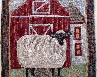 "Rug Hooking KIT, Annabelle the Wandering Sheep, 14"" x 18"", K104, Folk Art Sheep, Primitive Rug Hooking"