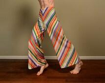 vintage 60s 70s candy stripe palazzo pants wide leg flare hippie boho high waist 1960 1970 rainbow stripe festival pants M L