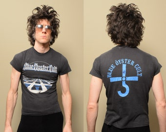 vintage Blue Oyster Cult tour shirt 70s 1970 t-shirt thin soft burnout rock concert shirt 1st LP logo shirt small XS slimfit