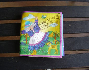 There was an Old Lady Who Swallowed a Fly Quiet Soft Fabric Baby Toddler Story Book Handmade Ready to Read