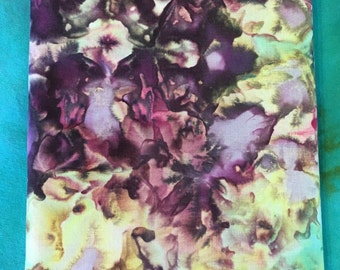 Brilliant Ice Dyed Quilting Cotton in Purple Hues and Lime Green 100% Cotton Fabric - 1 Yard
