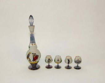 Vintage Hand Painted Spanish Decanter and Cordial Glasses