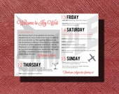 Wedding Weekend Itinerary, Key West, Florida Destination Wedding Welcome Bag Weekend Itinerary and Thank You Note