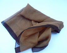 Vintage Brown Sheen Scarf Neckerchief Chiffon Soft Fabric Solid Color Light Dark Border Chic Material Dark Brown Scarf Light Fabric Two Tone