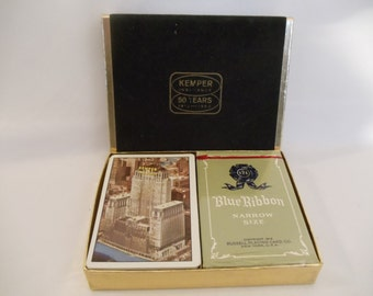 Vintage 1960s Playing cards from Kemper Insurance Blue Ribbon Narrow Size