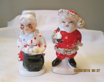 Vintage Salt and Pepper Shakers, Santa & Mrs Klaus Shakers, Christmas Salt and Pepper Shakers, Mid Century Santa and Mrs Klaus