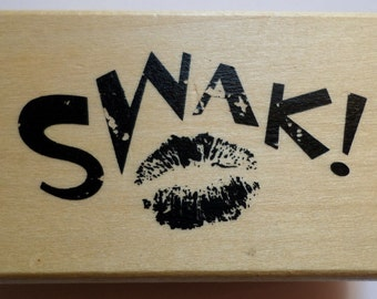 Anita'S Swak! Sealed With A Kiss Wooden Rubber Stamp Love Amore