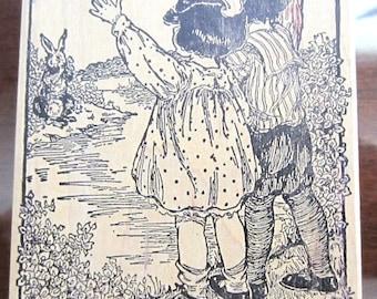 Magenta Rubber Stamp Children With Bunny Rabbit Waving Hello