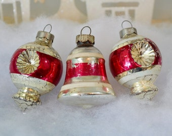 Vintage Christmas Ornaments Silver Red Striped Lantern Bell Double Indent Shiny Brite Set of 3 Three 1950's