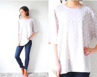 20% OFF BIRTHDAY SALE Vintage beige polka dot blouse // boho fall top // polka dot shirt // 80's slouchy top // slouchy shirt // oversized t
