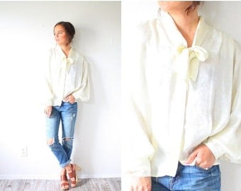 30% OFF out of town SALE Vintage cream bow necktie long sleeve blouse // silk feel off white blouse // boho cream blouse top // ivory blouse
