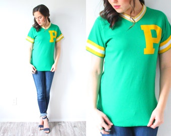 Vintage green retro sports top // baseball tee // bright green and yellow top // sports shirt // casual top // striped retro shirt / t-shirt