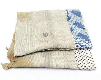 Japanese Antique Boro Textile. Indigo Ikat Kasuri Cotton with Sashiko (Ref: 134)