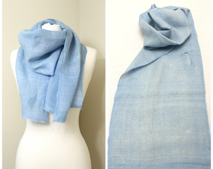 Vintage Japanese Linen Fabric with Botanical Indigo Dye and Boro Patches. Light Blue Fabric Scarf  (Ref: 1473B)