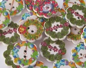 Christmas Wreath Wood Buttons Lot of 6