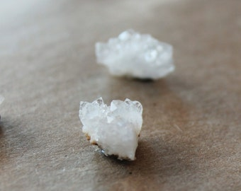 Druzy post earrings - Sterling Silver -  druzy jewelry - Raw Geode Crystals